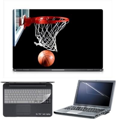 Skin Yard Sparkle Basketball Basket Laptop Skin with Screen Protector & Keyboard Skin -15.6 Inch Combo Set