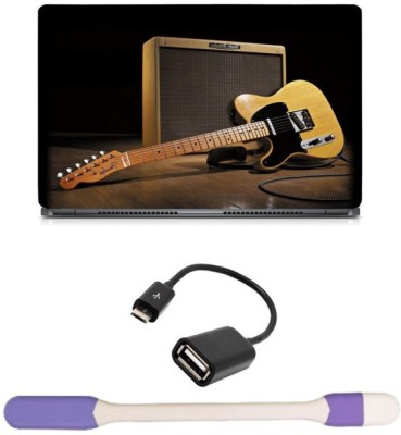 Skin Yard Stereo Guitar Laptop Skin with USB LED Light & OTG Cable - 15.6 Inch Combo Set