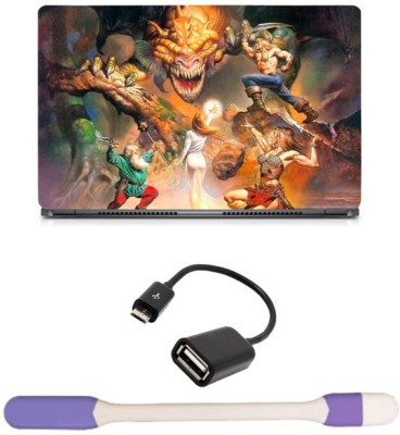 Skin Yard Maight & Magic 7 Heroes with Dragon Laptop Skin with USB LED Light & OTG Cable - 15.6 Inch Combo Set