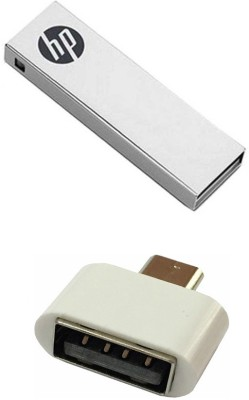 HP 32 GB V210w Pen Drive with OTG Adapter Combo Set