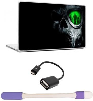 Skin Yard Horror Mask Laptop Skin with USB LED Light & OTG Cable - 15.6 Inch Combo Set