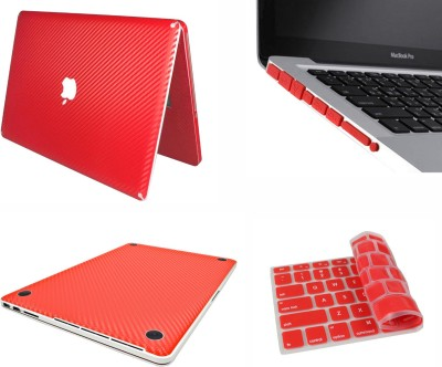 Pindia Red 3 Pc Apple Retina Macbook Pro 13 13.3 inch Md212hn/A Md212ll/A Carbon Fiber Sticker Cover Skin Keyboard Anti Dust Ports Combo Set