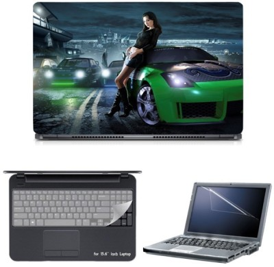 Skin Yard Need For Speed Rivals Green Car Laptop Skin with Screen Protector & Keyguard -15.6 Inch Combo Set