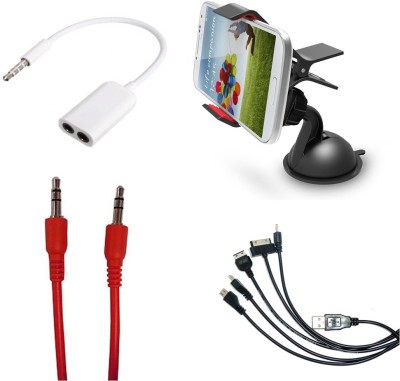 Bigkik Mobile Holder Aux Cable 3.5mm Jack 5in1 Cable Combo Set