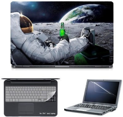 Skin Yard Astronaut Chilling On Moon Laptop Skin with Screen Protector & Keyguard -15.6 Inch Combo Set