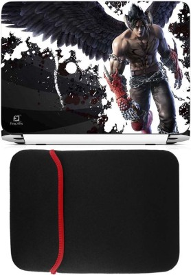 FineArts Tekken Laptop Skin with Reversible Laptop Sleeve Combo Set