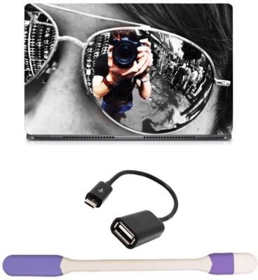 Skin Yard Aviator Photography Laptop Skin with USB LED Light & OTG Cable - 15.6 Inch Combo Set
