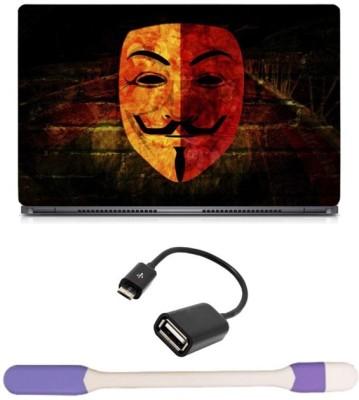 Skin Yard Wilson Mask Laptop Skin with USB LED Light & OTG Cable - 15.6 Inch Combo Set