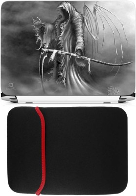 FineArts Killer Laptop Skin with Reversible Laptop Sleeve Combo Set