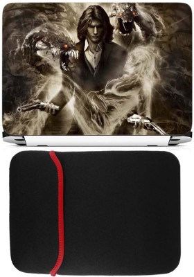FineArts Darkness Laptop Skin with Reversible Laptop Sleeve Combo Set