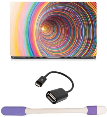 Skin Yard Coloured Cyclone Laptop Skin with USB LED Light & OTG Cable - 15.6 Inch Combo Set