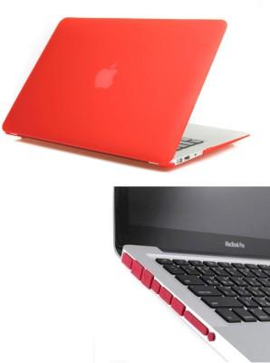 Pindia Red Matte Apple Macbook Pro 13 13.3 Hard Case Cover Anti Dust Ports Combo Set