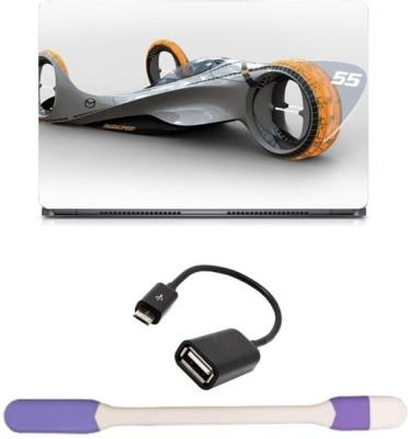 Skin Yard Futurustic Car Laptop Skin with USB LED Light & OTG Cable - 15.6 Inch Combo Set