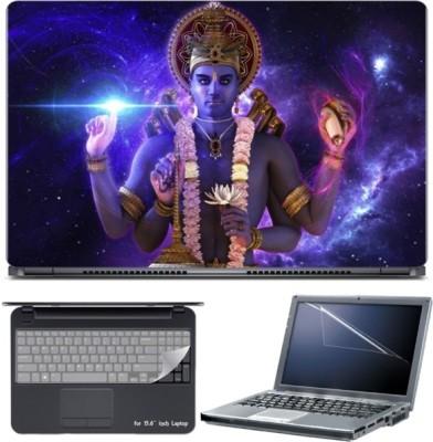 Skin Yard 3D Lord Vishnu Imagination Laptop Skin with Screen Protector & Keyboard Skin -15.6 Inch Combo Set