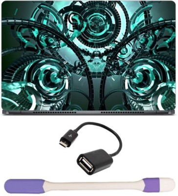 Skin Yard Mechanism Technology 3D Abstract Laptop Skin with USB LED Light & OTG Cable - 15.6 Inch Combo Set