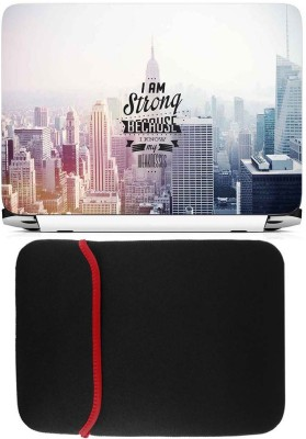 FineArts I Am Strong Laptop Skin with Reversible Laptop Sleeve Combo Set