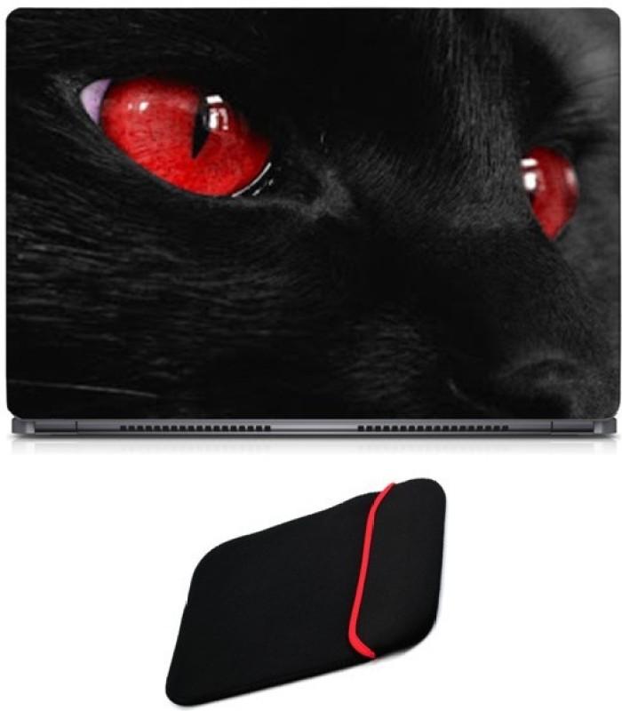 Skin Yard Red Eye Cat Laptop Skin with Reversible Laptop Sleeve - 14.1 Inch Combo Set