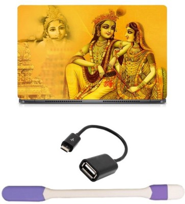 Skin Yard Radha Krishna Yellowish Laptop Skin with USB LED Light & OTG Cable - 15.6 Inch Combo Set