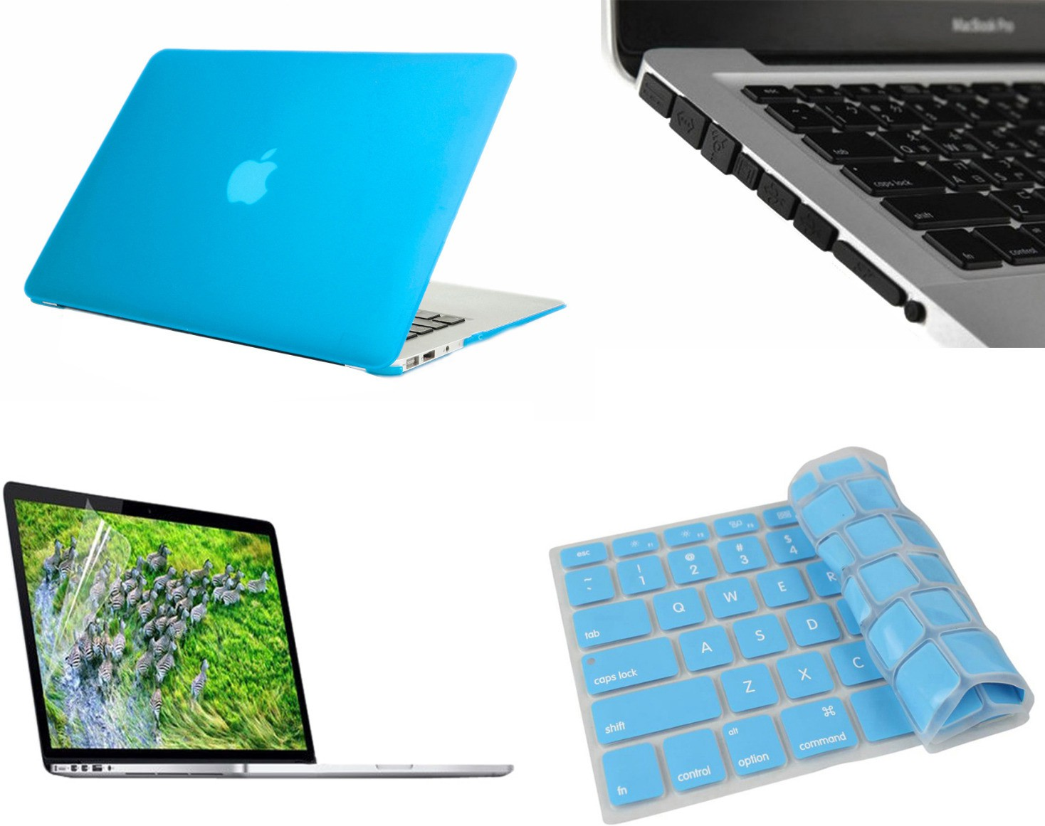 Pindia Aqua Blue Matte Finish Apple Macbook Pro 15 15.4 Inch Mb985hn/A Mb985ll/A Hard Case Shell Cover Anti Black Dust Ports Keyboard Screen Guard Combo Set