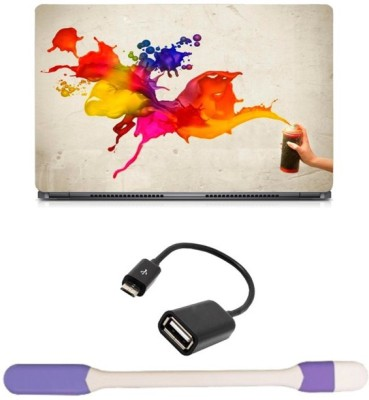 Skin Yard Paint Spray Abstract Laptop Skin with USB LED Light & OTG Cable - 15.6 Inch Combo Set