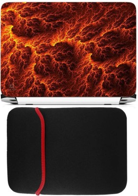 FineArts Lava Laptop Skin with Reversible Laptop Sleeve Combo Set