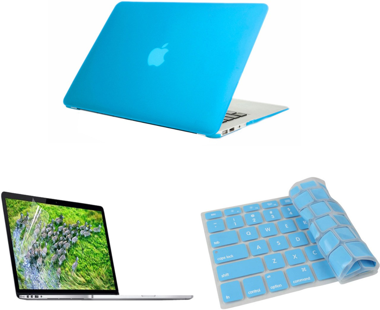 Pindia Apple Aqua Blue Matte Finish Apple Macbook Air 13 13.3 inch A1466 Hard Case Shell Cover Keyboard Screen Guard Combo Set