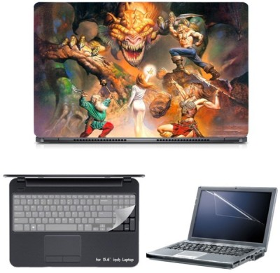 Skin Yard Maight & Magic 7 Heroes with Dragon Laptop Skin with Screen Protector & Keyguard -15.6 Inch Combo Set