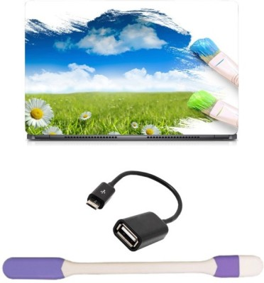 Skin Yard Nature Paint Laptop Skin with USB LED Light & OTG Cable - 15.6 Inch Combo Set