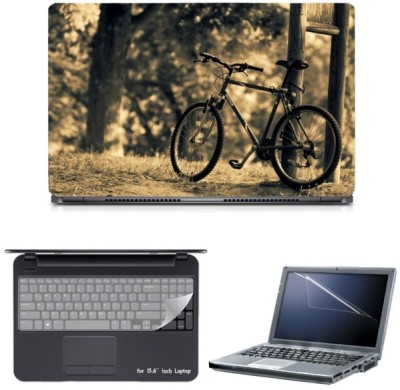 Skin Yard Bicycle Blur Nature Sparkle Laptop Skin with Screen Protector & Keyguard -15.6 Inch Combo Set