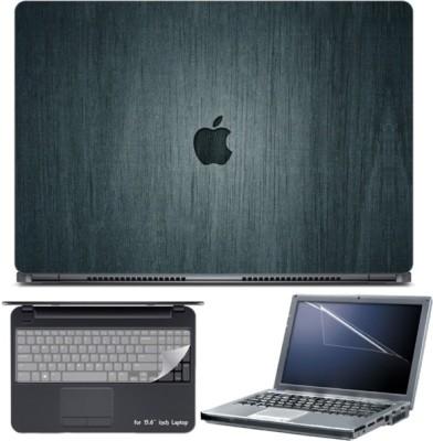 Skin Yard Apple Logo On Greenish Ply Laptop Skin with Screen Protector & Keyboard Skin -15.6 Inch Combo Set