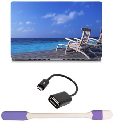 Skin Yard Feeling Relax Laptop Skin with USB LED Light & OTG Cable - 15.6 Inch Combo Set