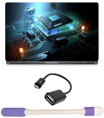 Skin Yard Intel Chipset Sky Scrapper Laptop Skin with USB LED Light & OTG Cable - 15.6 Inch Combo Set