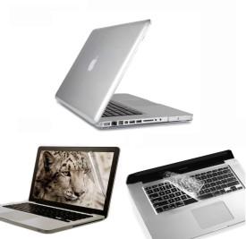 Pindia Transparent Crystal Finish Apple Macbook Pro 13 13.3 inch Mc700hn/A Mc700ll/A Hard Case Shell Cover Keyboard Screen Guard Combo Set
