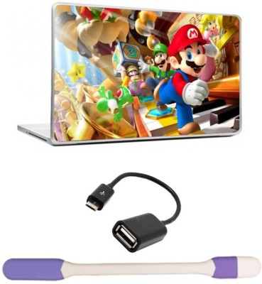 Skin Yard Super Mario Brothers Laptop Skin with USB LED Light & OTG Cable - 15.6 Inch Combo Set