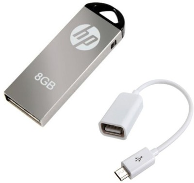 HP V-220 W 8 GB Pendrive with OTG Cable Combo Set