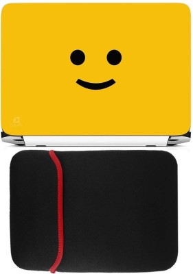 FineArts Yellow Smiley Laptop Skin with Reversible Laptop Sleeve Combo Set