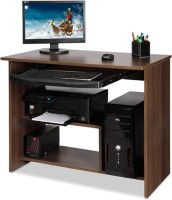Debono Lucky Computer Table with ABS Keyboard tray and shelves for Printer Engineered Wood Computer Desk(Modular, Finish Color - Acacia Dark Matt Finish)