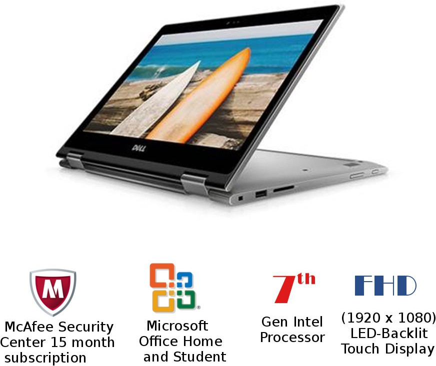 View Dell Inspiron 5000 Core i5 7th Gen - (8 GB/1 TB HDD/Windows 10 Home) 5378 2 in 1 Laptop(13.3 inch, EraGray) Laptop