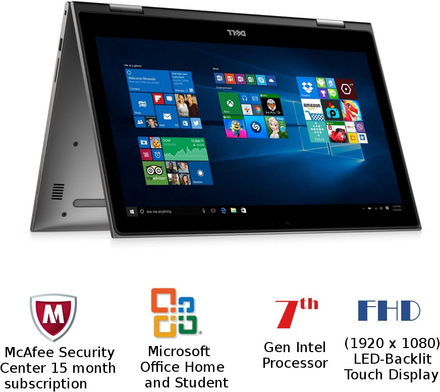 Dell Inspiron 5000 Core i5 7th Gen - (8 GB/1 TB HDD/Windows 10 Home) 5578 2 in 1 Laptop(15.6 inch, Gray, 2.10 kg) image