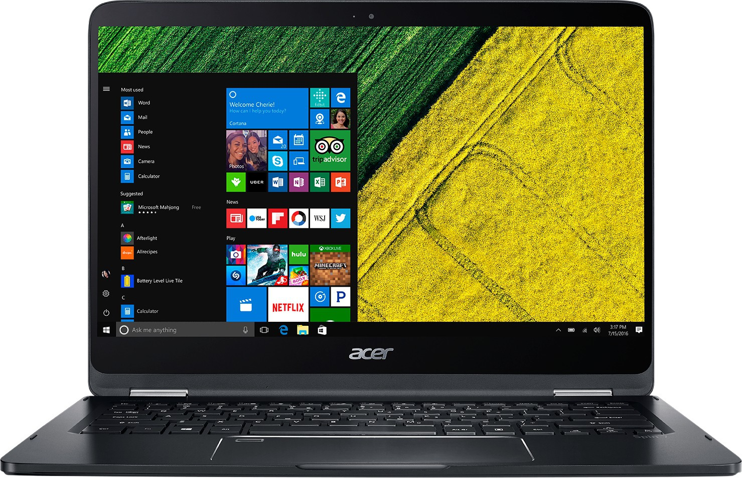 Acer Spin 7 Core i7 7th Gen - (8 GB/256 GB SSD/Windows 10 Home) SP714-51 Notebook(14 inch, Black)   Laptop  (Acer)