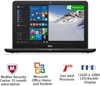 View Dell Inspiron 5000 Core i5 - (4 GB/1 TB HDD/Windows 10 Home/2 GB Graphics) Z563504SIN9B 5567 Notebook(15.6 inch, Black, 2.36 kg) Laptop