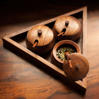 ExclusiveLane Triangular Jar Set With Tray And Spoon In Sheesham Wood 1 Piece Oil & Vinegar Set