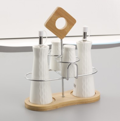 MOM Italy Tower Cruet Set with Bamboo/SS Stand 5 Piece Oil & Vinegar Set(Ceramic)