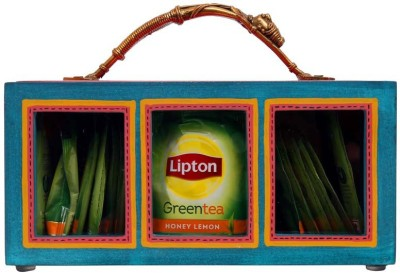 INDIKALA Ethnic multicoloured wooden tea bag box with dhokra woman handle 1 Piece Condiment Set(Wooden, Brass) at flipkart