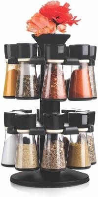 Floraware Black 16-Jar Revolving Spice Rack Masala Box Condiment Set(Plastic) at flipkart