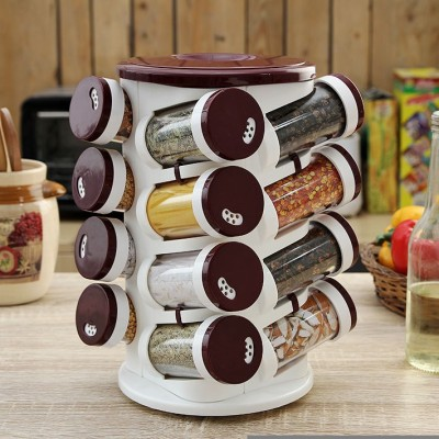 JVS Majestic Spice Tower Solid Burgandy 16 Piece Condiment Set(Plastic)