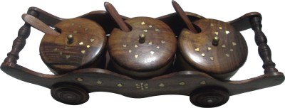 BKDT Marketing Hand Made Beautiful Wooden Trolly With 3 Bowls And Spoon For Pickle 7 Piece Condiment Set