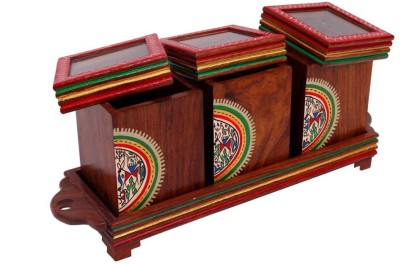 INDIKALA Set of Three Warli Painted Wooden Jaar Set With Glass Top Covers and Tray 4 Piece Condiment Set(Wooden, Glass) at flipkart