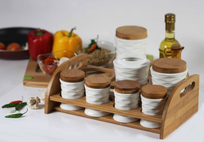 Chrome 8 Piece Oil & Vinegar Set(Wooden, Ceramic)