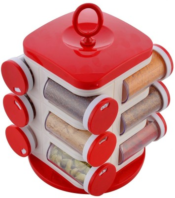 Floraware Red 12-Jar Revolving Condiment Set(Plastic) at flipkart